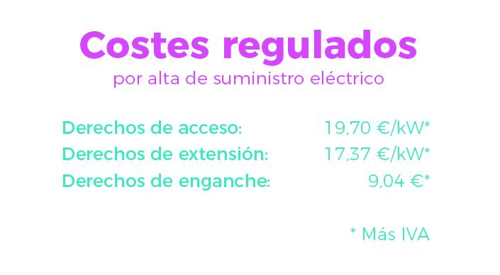 Costes regulados para dar de alta la luz