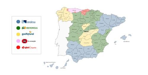 Áreas de actuación principales distribuidoras. Fuente: enchufados.com