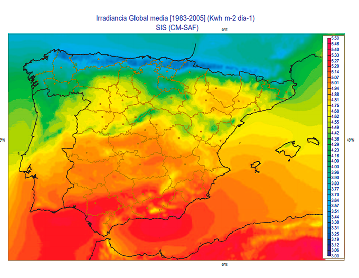 Irradiancia Global Media Península