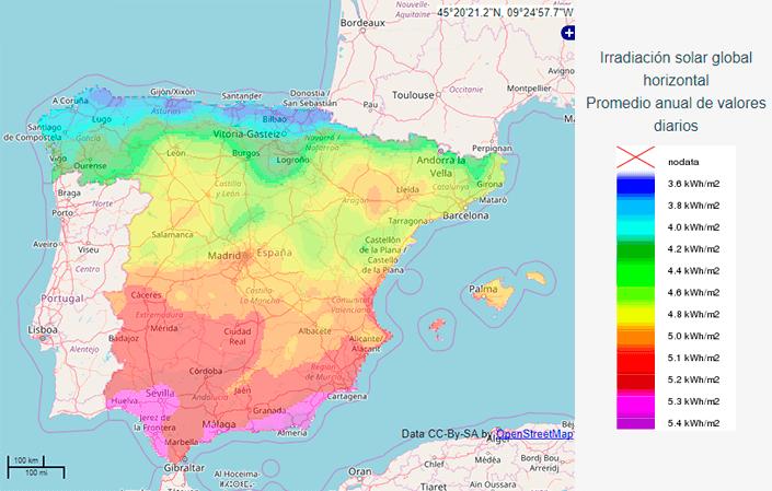 Lucera-Irradacia solar en la península